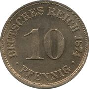10 Pfennig - Wilhelm I (type 1 - large shield) – reverse