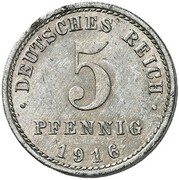 5 Pfennig - Wilhelm II (type 2 - small shield - Pattern) – reverse