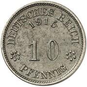 10 Pfennig - Wilhelm II (type 2 - small shield - Pattern) – reverse