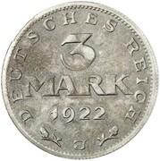 3 Mark (Weimar Constitution - Pattern) – reverse