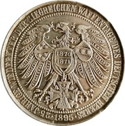 Medal - Wilhelm II, Wilhelm I and Friedrich (25th anniversary of Return of the Days of arms) – reverse