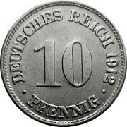 10 Pfennig - Wilhelm II (type 2 - small shield) -  reverse