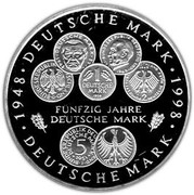 10 Deutsche Mark (50th Anniversary of the Deutsche Mark) -  reverse