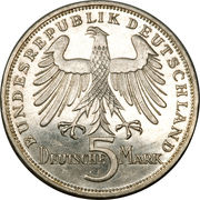 5 Deutsche Mark (Friedrich von Schiller) – obverse