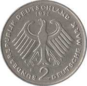 2 Deutsche Mark (Theodor Heuss) – obverse