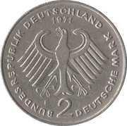 2 Deutsche Mark (Theodor Heuss) – obverse