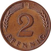 2 Pfennig (non-magnetic) – reverse