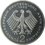 2 Deutsche Mark (Willy Brandt) – obverse