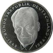 2 Deutsche Mark (Willy Brandt) – reverse