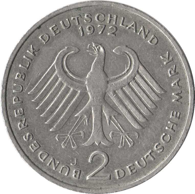2 deutsche mark konrad adenauer germany federal republic numista. Black Bedroom Furniture Sets. Home Design Ideas