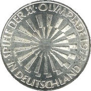 "10 Deutsche Mark (Olympic Games in Munich, legend ""IN DEUTSCHLAND"") -  reverse"