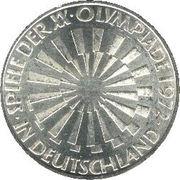 """10 Deutsche Mark (Olympic Games in Munich, legend """"IN DEUTSCHLAND"""") -  reverse"""
