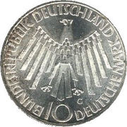 "10 Deutsche Mark (Olympic Games in Munich, legend ""IN DEUTSCHLAND"") -  obverse"