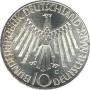"""10 Deutsche Mark (Olympic Games in Munich, legend """"IN DEUTSCHLAND"""") -  obverse"""