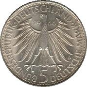 5 Deutsche Mark (Wilhelm Leibniz) – obverse