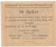 10 Heller (Altenmarkt a. d. Ysper) – reverse