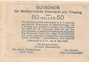50 Heller (Altenmarkt a. d. Triesting) – reverse