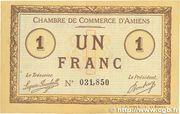 1 franc - Chambre de Commerce D'Amiens [80] <Timbre sec> – obverse