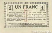 1 franc - Chambre de Commerce D'Amiens [80] <Timbre sec> – reverse
