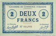 2 francs - Chambre de Commerce D'Amiens [80] <Timbre sec> – obverse