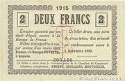 2 francs - Chambre de Commerce D'Amiens [80] <Timbre sec> – reverse