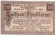 10 Heller (Amstetten) rough Paper – obverse