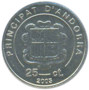 25 Centims (Our Lady of Meritxell Sanctuary) -  obverse
