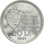20 Diners - Joan Martí i Alanis (European Small States Games) -  obverse