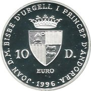 10 Diners - Joan Martí i Alanis (Silver Jubilee) -  obverse