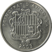 10 Centims (Our Lady of Meritxell) – obverse