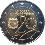 2 Euro (20 Years in the Council of Europe) – obverse