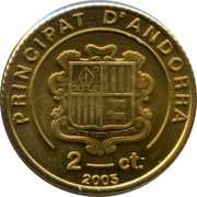 2 Centims (Pyrenean Chamois) – obverse