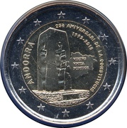 2 Euro (Constitution of the Principality of Andorra) – obverse