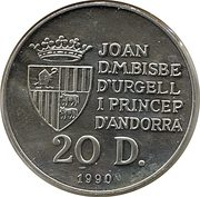 20 Diners (Jeux olympiques Barcelone 1992) – obverse
