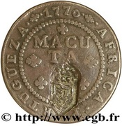 ½ Macuta - Maria II (countermarked ¼ Macuta) -  reverse