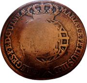 1 Macuta - Maria II (countermarked over½ Macuta/Maria I & PedroIII) -  obverse