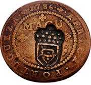 1 Macuta - Maria II (countermarked over½ Macuta/Maria I & PedroIII) -  reverse