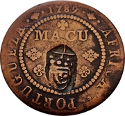 1 Macuta - Maria II (countermarked over ½ Macuta Maria I) – reverse