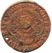 40 Reis - João Prince Regent (countermarked coinage over PETRVS II) -  obverse