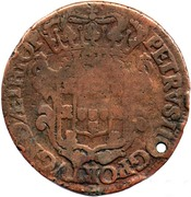 40 Reis - João Prince Regent (countermarked coinage over PETRVS II) -  reverse