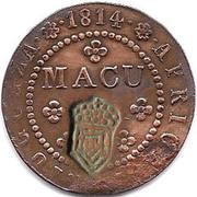 2 Macutas - Pedro V (countermarked 1 Macuta) – reverse