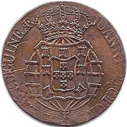 1 Macuta - Pedro V (countermarked over ½ Macuta/João Prince) -  obverse