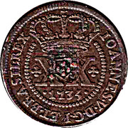 40 Reis - João Prince Regent (countermarked coinage over IOANNES V) -  obverse
