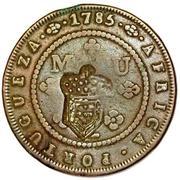 2 Macutas - Maria II (countermarked 1 Macuta KM#20) – reverse