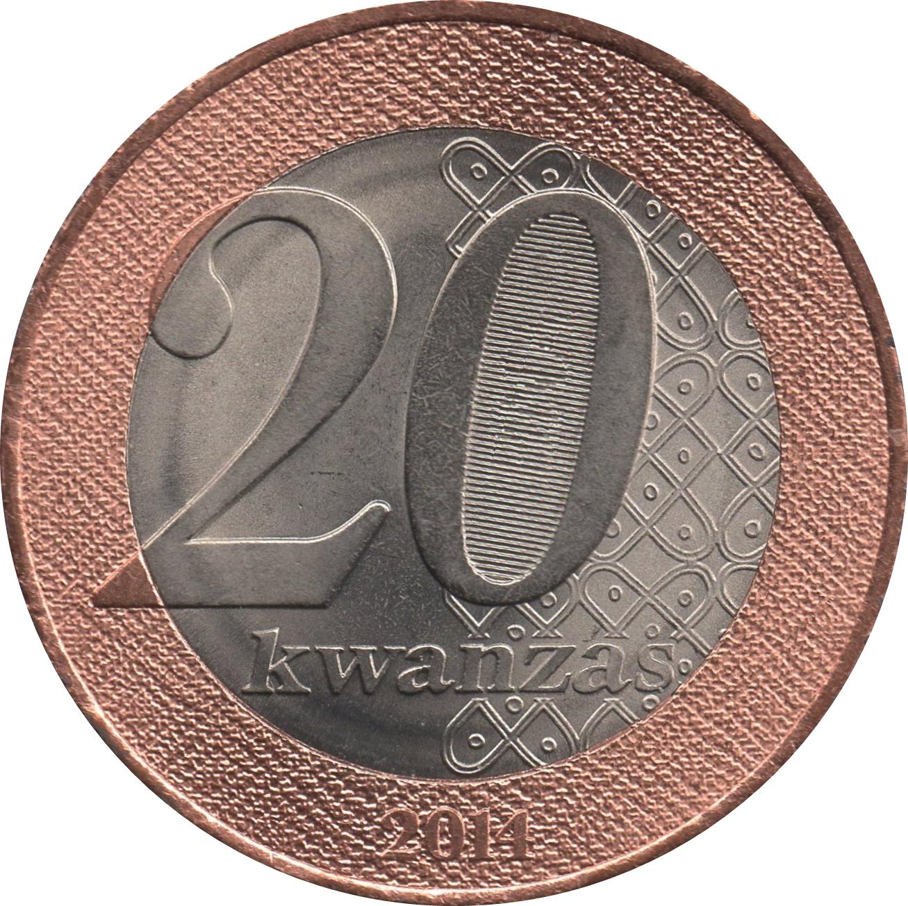 Angola  20  Kwanzas 2014 bimetallic
