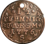 1½ Pfennig - Friedrich Albrecht – reverse