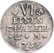 ⅙ Thaler - Victor Friedrich – reverse