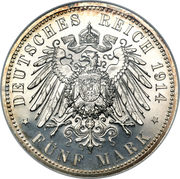 5 Mark - Friedrich II. (Silver Wedding) – reverse