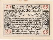25 Pfennig (Rieder am Ostharz) -  obverse