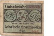50 Pfennig (Anhaltische Finanzdirektion) – obverse